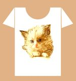 Childish t-shirt design with  kitten Royalty Free Stock Photography