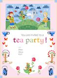 Childish tea party invitation with fairyland. Cute vector templa Stock Image