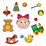 Childish toys and little girl royalty free illustration