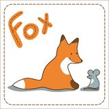 Fox and mouse. Childish vector background illustration with animals stock illustration
