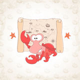 Childish vector crab with textural background Stock Images
