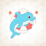 Childish vector dolphin with textural background Stock Photo