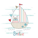 Childish vector illustration with sailboat and cat Royalty Free Stock Photos
