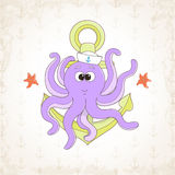 Childish vector octopus with textural background Royalty Free Stock Photography