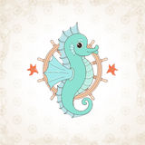 Childish vector seahorse with textural background stock photography