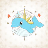 Childish vector whale with textural background Royalty Free Stock Image