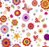 Childish wallpaper with colorful abstract flowers and mushrooms Royalty Free Stock Image