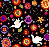 Childish wallpaper with hippie symbolic and doves Royalty Free Stock Photos
