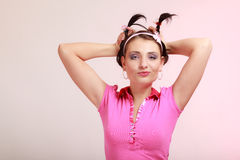 Childish woman infantile girl with pigtail. Longing for childhood. Stock Photos