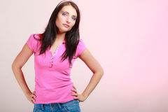 Childish woman infantile girl in pink Stock Photos