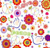 Childish wrapper with embroidered peace symbol, colorful abstract flowers,  and doves Stock Image