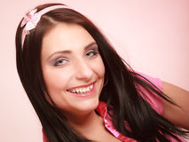Childish young woman infantile girl in pink. Longing for childhood. Royalty Free Stock Images