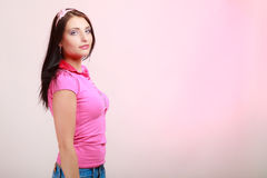 Childish young woman infantile girl in pink Stock Image