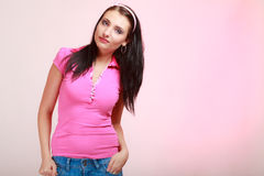 Childish young woman infantile girl in pink Stock Photos