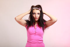 Childish young woman infantile girl in pink. Stock Images