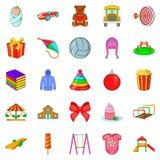 Childishness icons set, cartoon style. Childishness icons set. Cartoon set of 25 childishness vector icons for web isolated on white background Stock Image