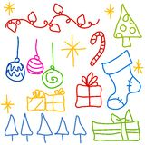 Childlike Christmas Doodle Drawings. A clip art illustration of simplistic, childlike drawings of various Christmas items - trees, lights, ornaments, gifts Stock Images