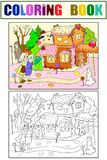 Childlike color vector story scene with pair of children eating some sweets near colorful cottage in deep forest. Black and white line Stock Photo