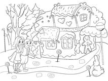 Childlike coloring vector story scene with pair of children eating some sweets near colorful cottage in deep forest Stock Image