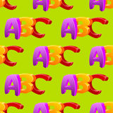 Childlike doodle ABC seamless pattern, flat design. Colors stock illustration