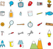 Childlike Doodles of Everyday Objects. In a simple cartoon style Royalty Free Stock Photos