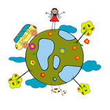 Childlike drawing. With little girl, school bus and globe over white background Royalty Free Stock Image