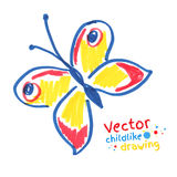 Childlike drawing of butterfly Royalty Free Stock Photo