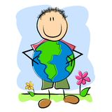 Childlike Drawing Child And Earth. An illustration featuring a childlike drawing of a kid holding the planet Earth Stock Photography