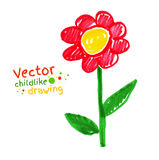 Childlike drawing of flower Royalty Free Stock Images