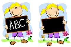 Childlike Drawing Girl Chalkboard. An illustration featuring a childlike drawing of a girl holding a chalkboard - one with A,B,C and the other blank for your own Royalty Free Stock Images