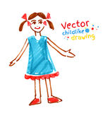 Childlike drawing of girl Royalty Free Stock Photos