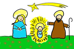 Childlike drawing of the Holy Family Royalty Free Stock Photos