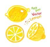 Childlike drawing of lemon Royalty Free Stock Photos