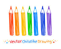 Childlike drawing of pencils Royalty Free Stock Photography