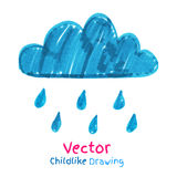 Childlike drawing of rainy cloud Royalty Free Stock Photo