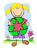 Childlike Drawing Recycle Symbol. An illustration featuring a childlike drawing of a little girl holding a recycle symbol stock illustration