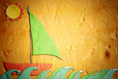 Childlike drawing of sand, holiday sailing boat Stock Photo