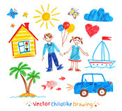 Childlike drawing set. Felt pen childlike drawing set Royalty Free Stock Photo