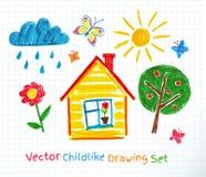 Childlike drawing set Stock Images