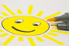 Sun. A childlike drawing of the sun with a smiley face Royalty Free Stock Photography