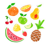 Childlike drawings of fruit. royalty free illustration