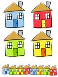 Childlike Drawings of Houses Vector Illustration