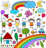 Childlike drawings set. Cute colorful childlike drawings elements set royalty free illustration