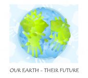 Childlike Fingerpainting Earth. An illustration featuring the planet Earth painted with childlike handprints in green and blue and the phrase 'Our Earth - Their Stock Photos