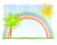 Childlike Fingerpainting Rainbow. A childlike illustration featuring a rainbow, tree, and sun painted with hands and fingers. Sorry,extra formats not available Royalty Free Stock Images