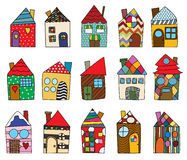Childlike house drawings. Collection against white background Stock Photography