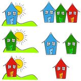 Childlike House Home Clip Art. A clip art illustration featuring a childlike simplistic drawing of various houses in blue, red, and green with sun and grass Stock Photos