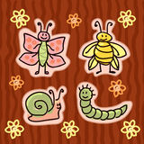 Childlike insect stickers Royalty Free Stock Photos