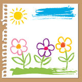 Childlike painting - flowers. Colorful flowers painted with brush in childlike style Royalty Free Stock Photo