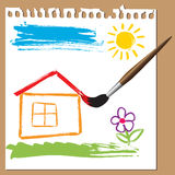 Childlike painting - house Stock Photo